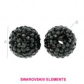 DISCOBALL BEAD 16mm/4.5 mm JET HEMATITE