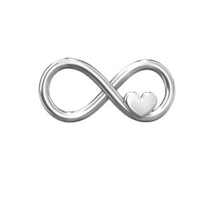 Silver infinity sign with heart - ODL-00082 7,6x16,3 mm