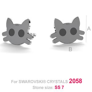 Cat head earrings post (2058 SS 7) - LK-0