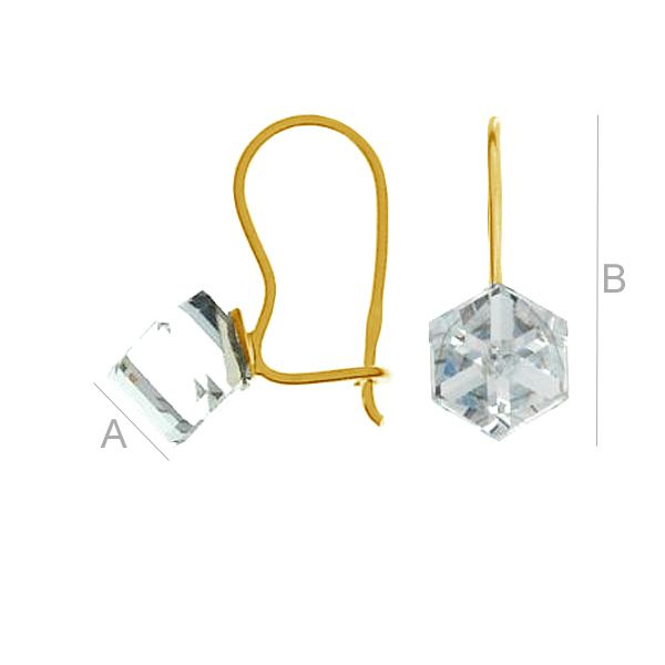 Earrings Swarovski Cube 6mm - KK 6 KLB CRYSTAL