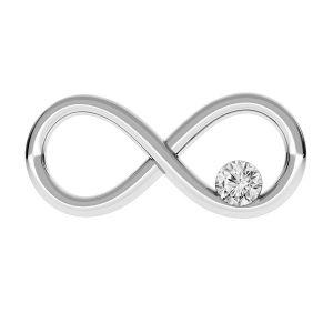 Infinity sign with Swarovski Crystal - ODL-00154 ver.2 7,7x16 mm