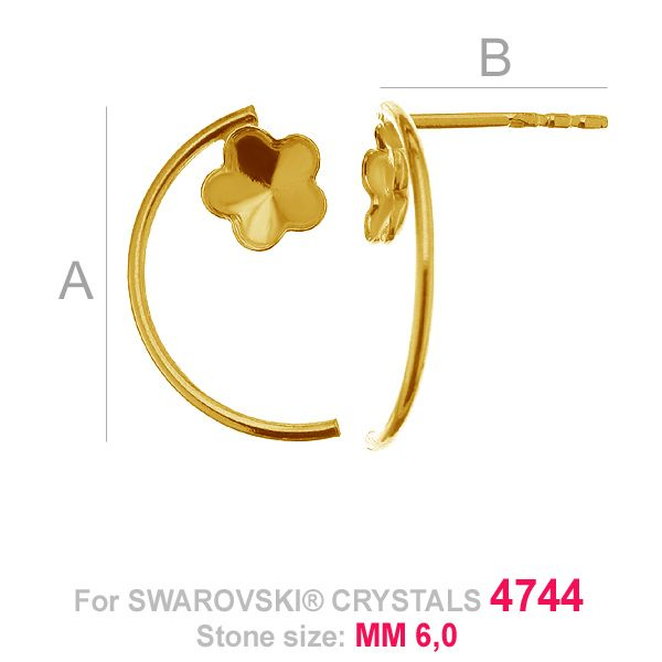 Flower 6mm Swarovski earrings base FKSV 4744 MM 6 KLS ver. 2