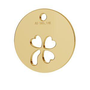 Round clover pendant gold 14K LKZ-00024 - 0,30 mm