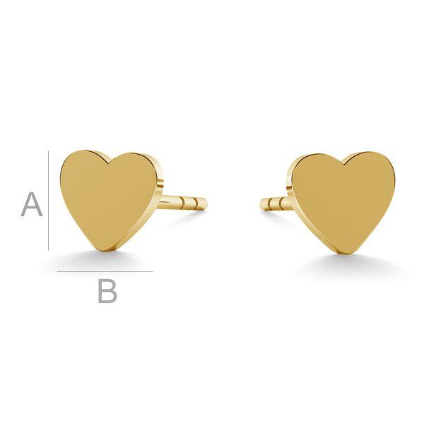 Heart earrings gold 14K LKZ-00932 KLS - 0,30 mm