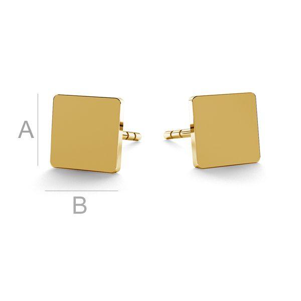 Square earrings gold 14K LKZ-00934 KLS - 0,30 mm