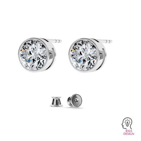 Earrings for zirconia 6mm, ODL-00110 KLS
