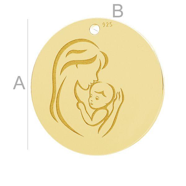 Mother child, round pendant, LK-1290 - 0,50