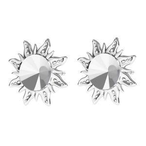 Sun earrings base for Swarovski Rivoli 6mm, sterling silver 925, ODL-00313 KLS (1122 SS 29)