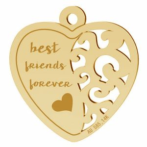 Best friend heart pendant, gold 14K, LKZ-00401 - 0,30