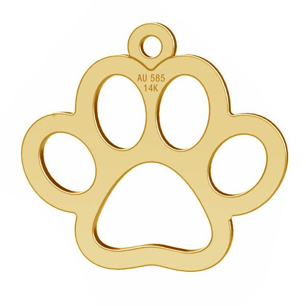 gold dog pawt pendant, gold 14K, LKZ-00365 - 0,30