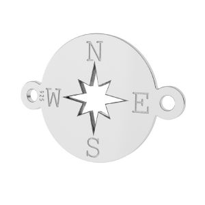 Compass, wind rose pendant connector, sterling silver 925, LK-1318 - 0,50