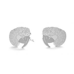Parrot earrings, sterling silver 925, LK-0899 KLS - 0,50