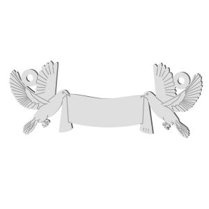 Wedding pigeons pendant connector, sterling silver 925, LK-1366 - 0,50