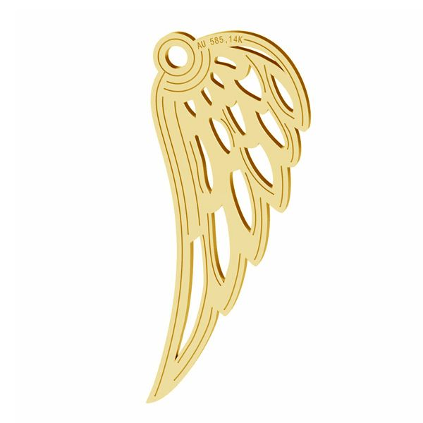Angel wing gold pendant, AU 585 14K, LKZ-01305 - 0,30