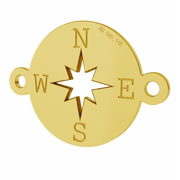 Compass, wind rose pendant connector, AU 585 14K, LKZ-01318 - 0,30