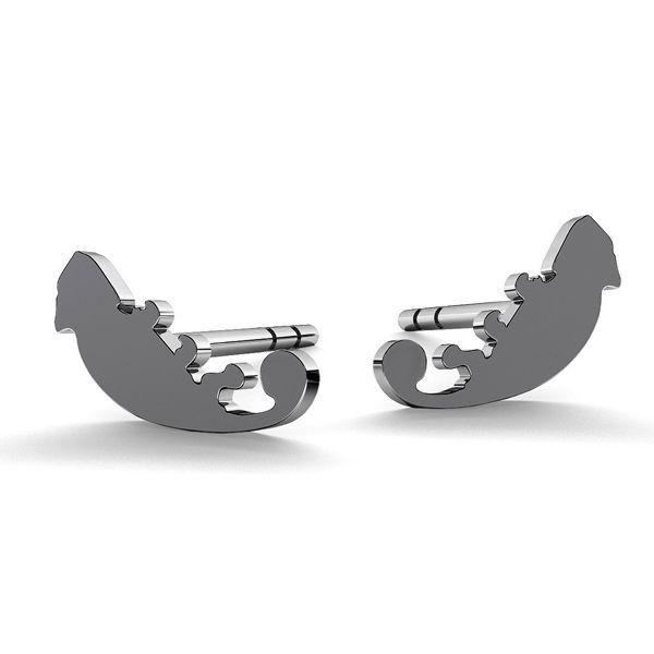 Chameleon earrings, sterling silver 925, LK-0615 KLS - 0,50