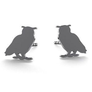 Owl earrings, sterling silver 925, LK-0615 KLS - 0,50