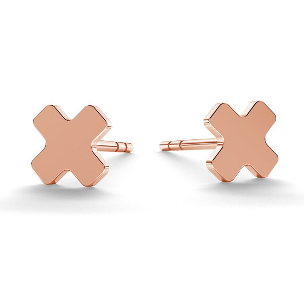 X letter earrings, sterling silver 925, LK-0617 KLS - 0,50