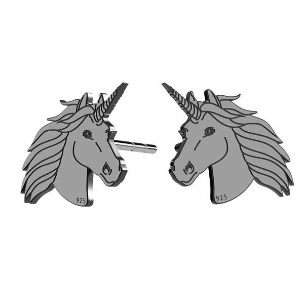 Unicorn earrings, sterling silver 925, LK-1397 KLS - 0,50