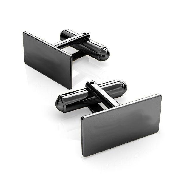 Silver rectangle cufflinks base, LK-1443 - 0,50