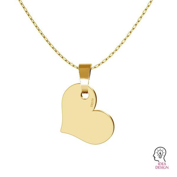 Heart tag pendant gold 14K, LKZ-00573 - 0,30