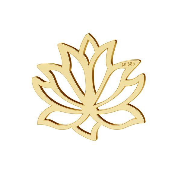 Lotos flower pendant gold 14K, LKZ-00771 - 0,30