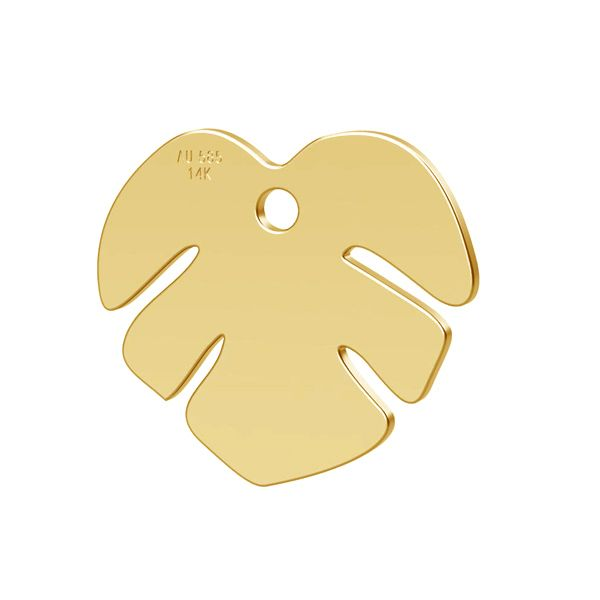 Monstera leaf, pendant gold 14K, LKZ-00809 - 0,30