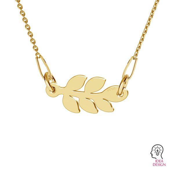 Monstera leaf, pendant gold 14K, LKZ-00809 - 0,30