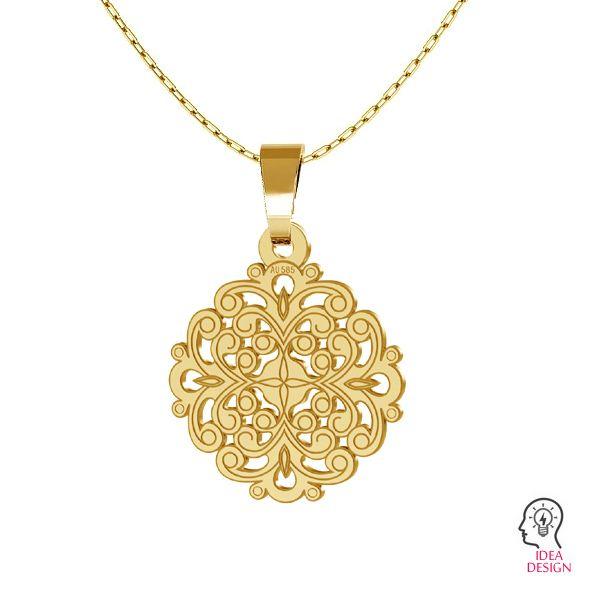 Gold rosette pendant, AU 585 14K, LKZ-00382 - 0,30