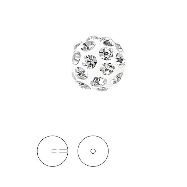 Discoball White 6 mm 1 hole, 86301 MM 6,0 01 001