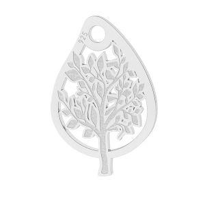 Leaf butterfly pendant, sterling silver 925, LK-1473 - 0,50