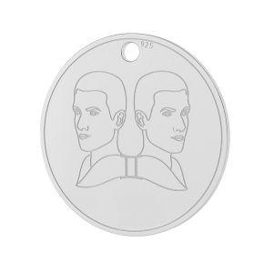 Gemini zodiac pendant, sterling silver 925, LK-1449 - 0,50