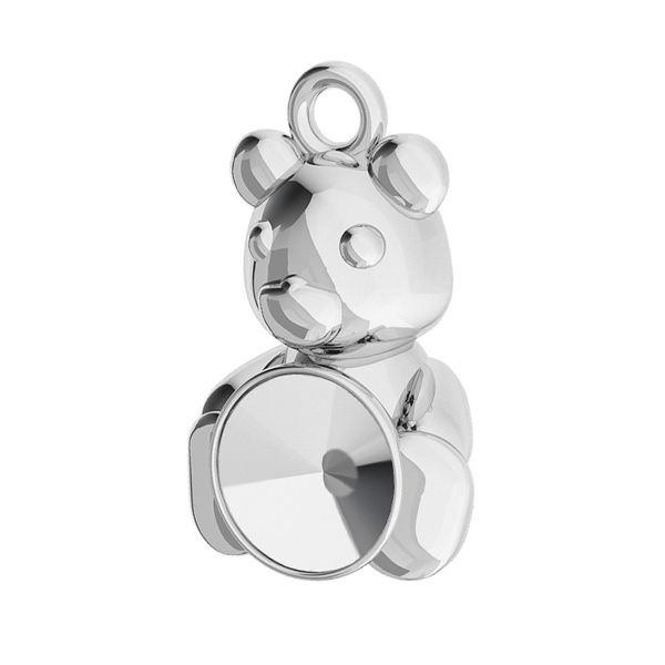 Teddy bear pendant base for Swarovski Rivoli 6 mm, sterling silver, ODL-00446 (1122 SS 29)
