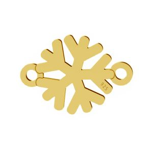 Snowflake pendant connector, sterling silver, LK-1537 - 0,50