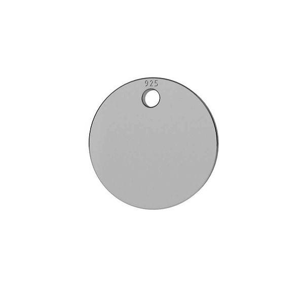 Round pendant tag 10 mm, sterling silver, LKM-2013