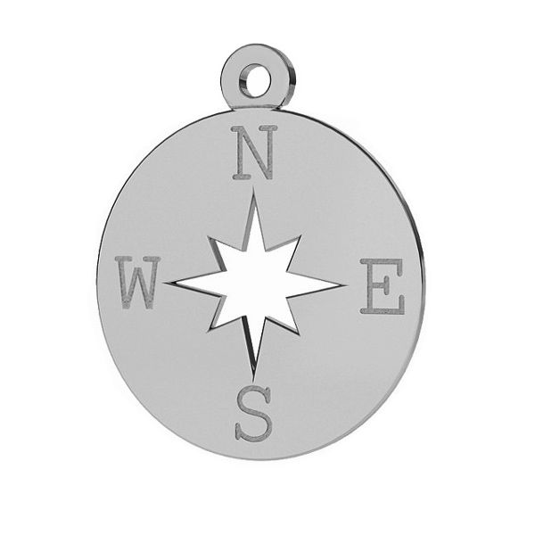 Compass wind rose pendant, sterling silver, LKM-2015