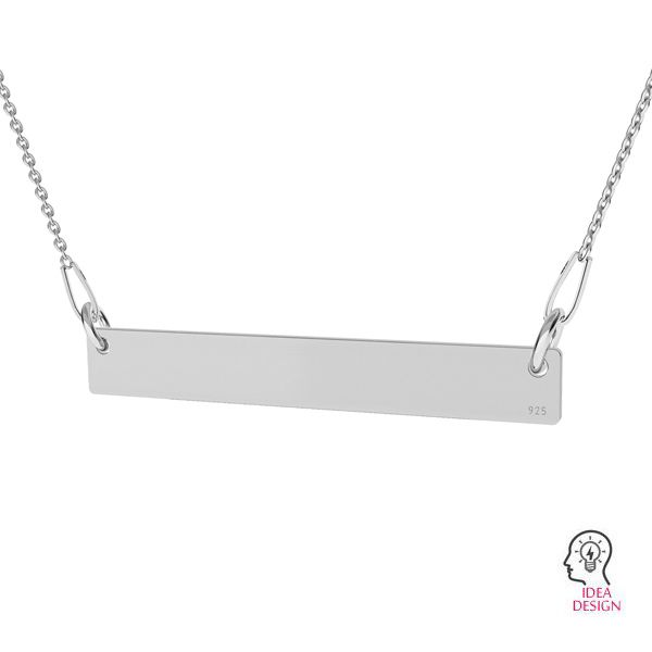 Rectangular pendant connector tag, sterling silver, LKM-2038