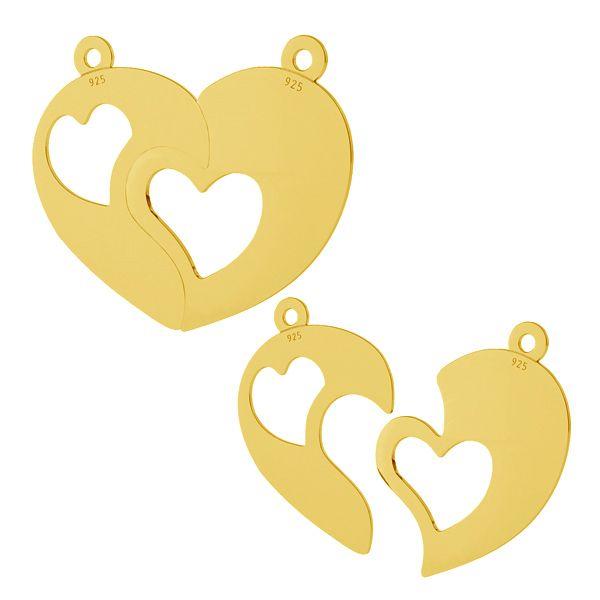 Split heart pendant, sterling silver, LKM-2046