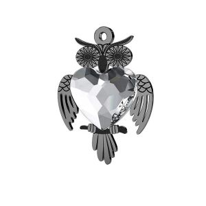Owl pendant with Swarovski heart 10 mm, LK-0433 ver.2