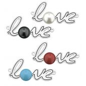 Love pendant connector with Swarovski pearl, sterling silver, LASER - LOVE ver.2