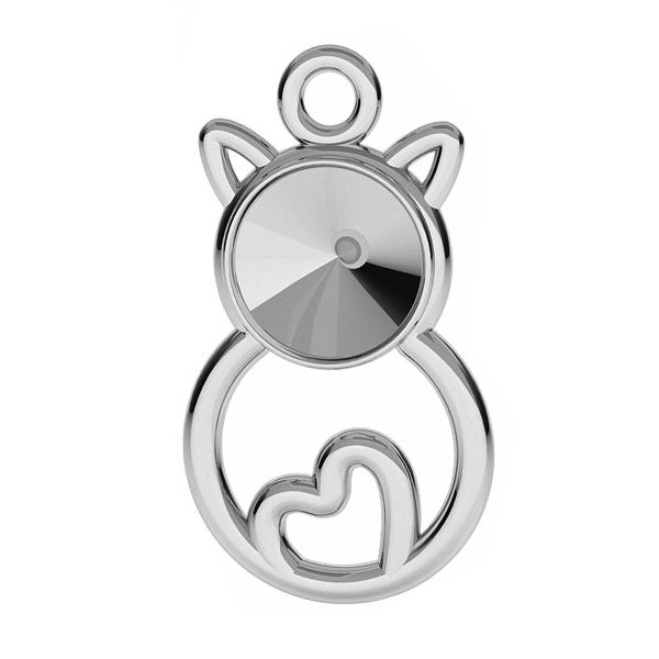 Cat pendant base for Swarovski Rivoli 6 mm, sterling silver, ODL-00458 (1122 SS 29)