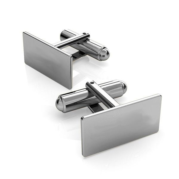 Silver rectangle cufflinks base, LK-1443 - 0,50