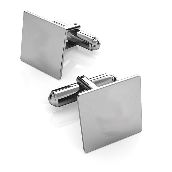 Silver rectangle cufflinks base, LK-1444 - 0,50