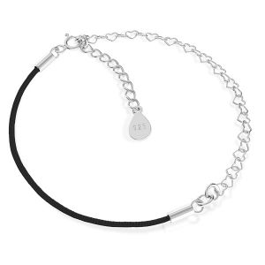Base for bracelets, black cord and heart chain, sterling silver 925, S-BRACELET 13