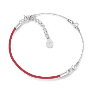 Base for bracelets, red cord and chain, sterling silver 925, S-BRACELET 15 (RED)