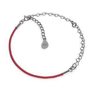 Base for bracelets, red cord and heart chain, sterling silver 925, S-BRACELET 16