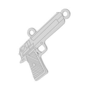 Gun pendant connector, sterling silver, LKM-2092 - 0,50