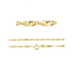 S 30 (45-55 cm), singapour chain, sterling silver rhodium or gold plated