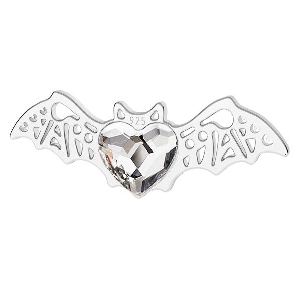 Bat pendant with Swarovski heart, sterling silver, LK-1562 - 0,50 ver.2
