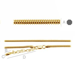Neck Base CST 3,0 (45 - 55 cm ), necklace beads base, silver 925